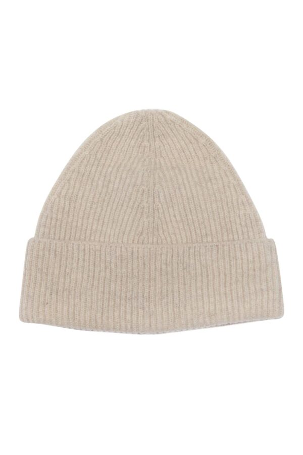 Unisex 100% lambswool beanie hat in natural clay British made