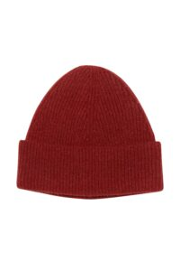 Unisex 100% lambswool beanie hat in rusty red British made