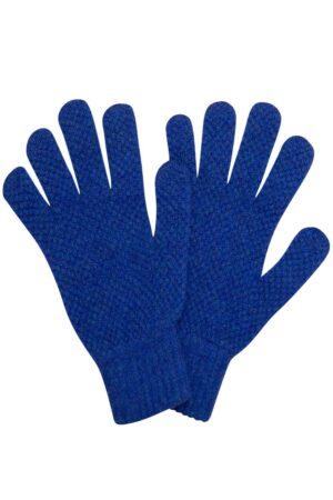 Luxury unisex deep blue moss stitch lambswool gloves british made