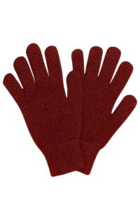 Luxury unisex moss stitch lambswool gloves rust brown british made