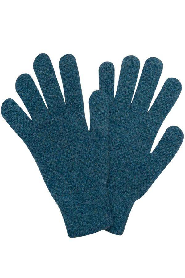 green moss stitch wool gloves british made