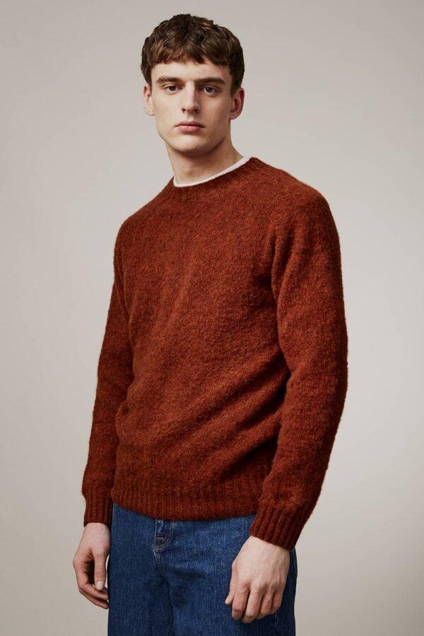 Lunan Brushed Wool Sweater Rust - British Made 3