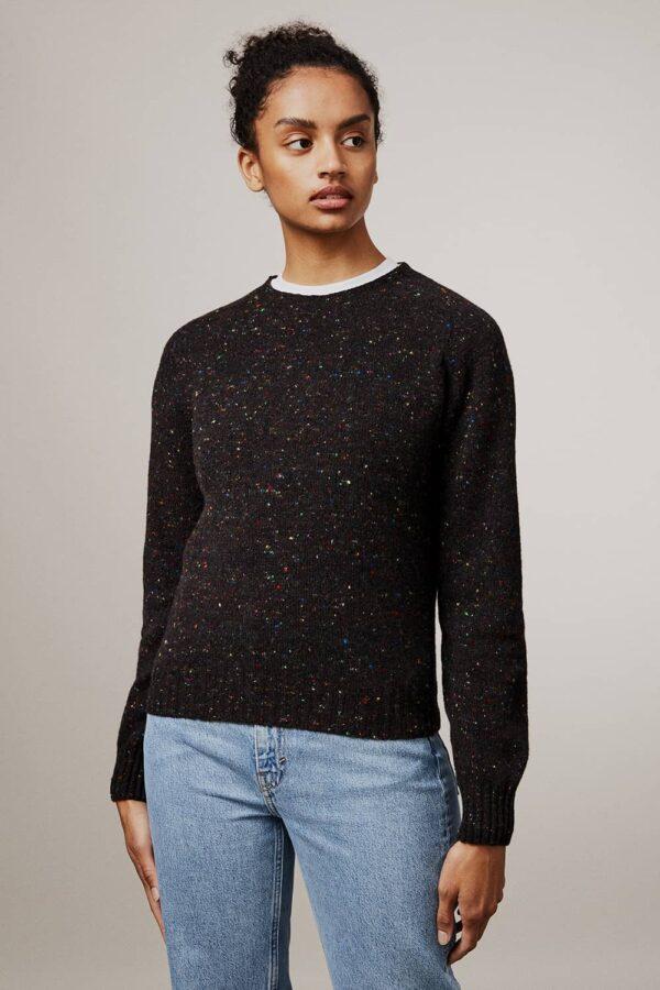 Maud Lambswool Cashmere Sweater Black - British Made 3