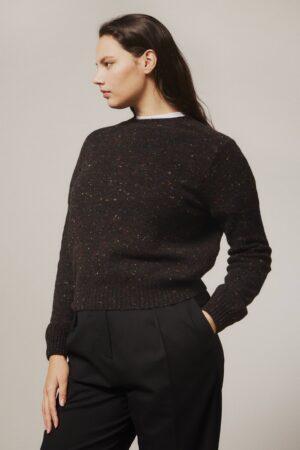 Maud Lambswool Cashmere Sweater Black - British Made