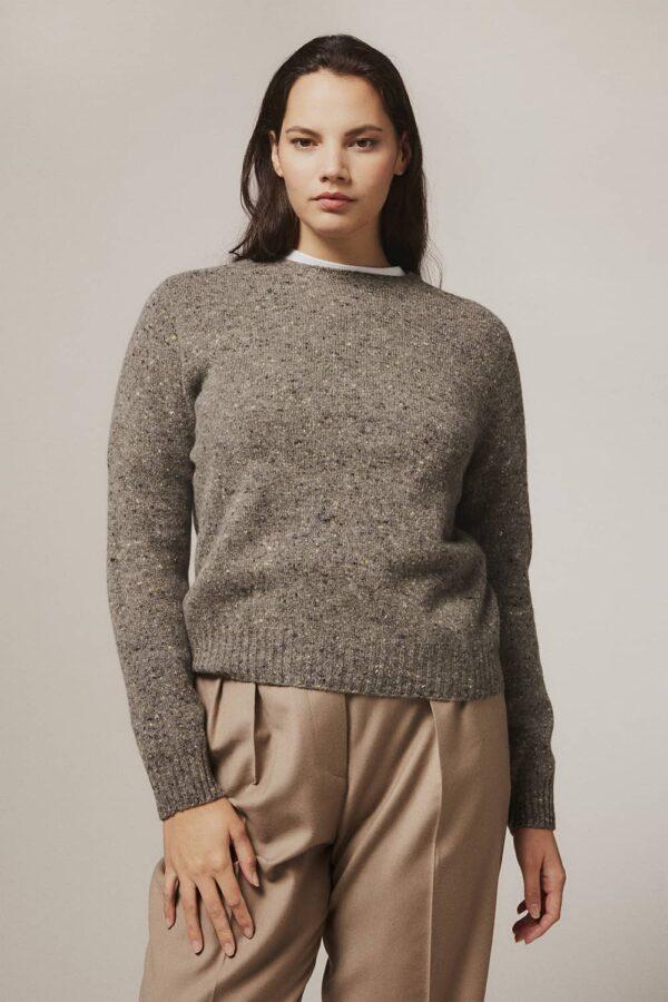 Maud Lambswool Cashmere Sweater Grey - British Made