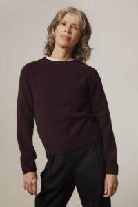 Maud Lambswool Cashmere Sweater Plum - British Made