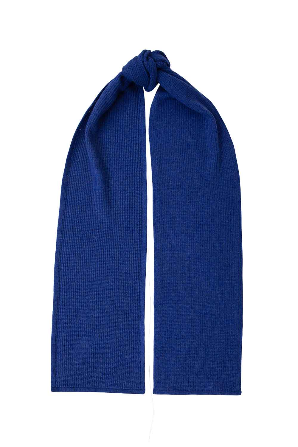 moss stitch textured lambswool scarf blue