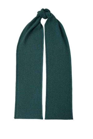 textured hunter green lambswool scarf made in Britain