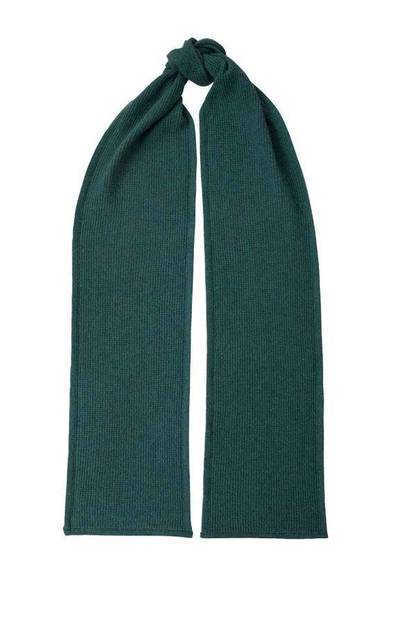 Luxury unisex textured 100% lambswool scarf in hunter green British made