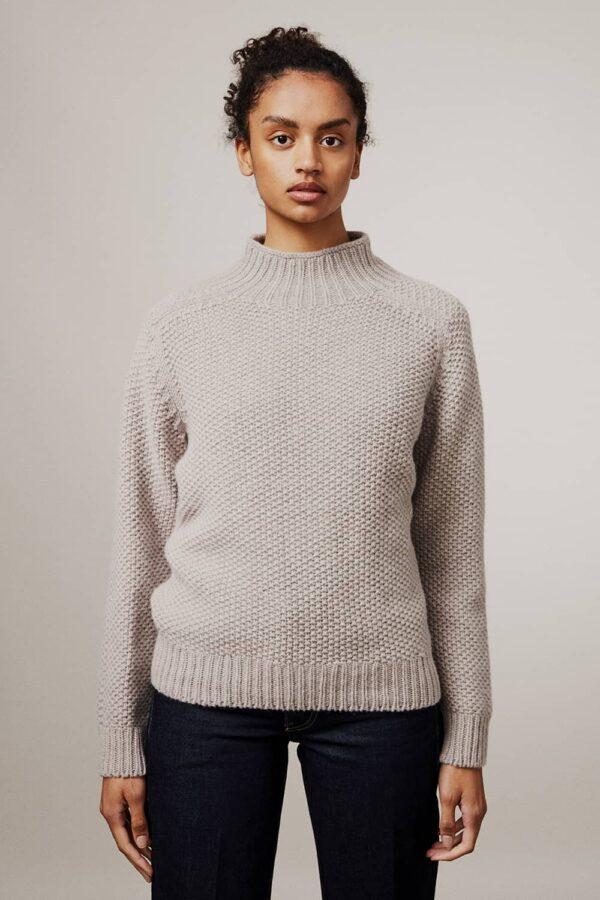 Rora  Chunky Moss Stitch Lambswool Turtleneck Sweater Beige - British Made