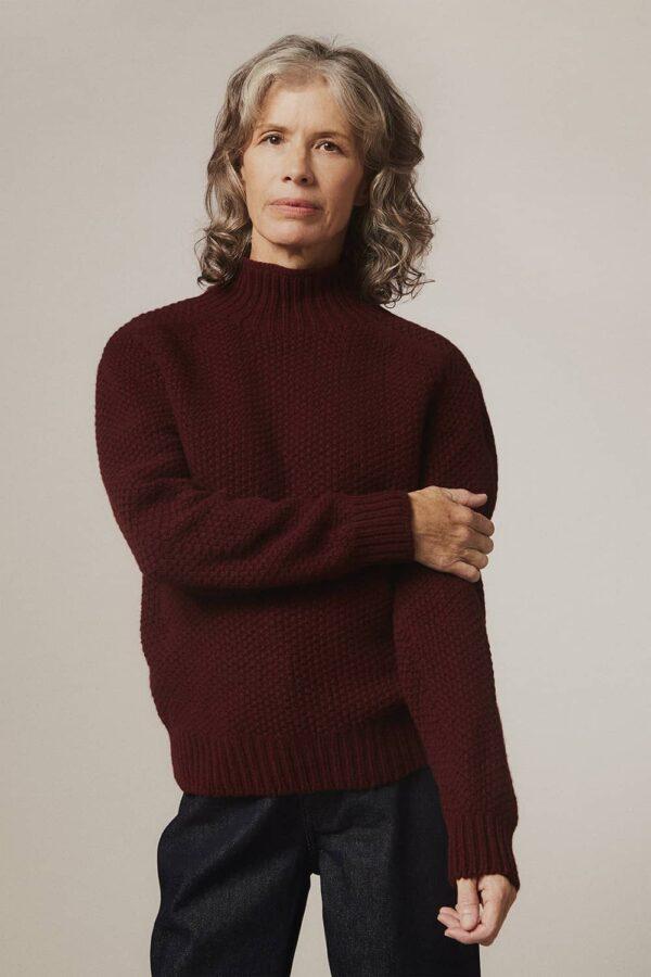 Rora Chunky Moss Stitch Lambswool Turtleneck Sweater Burgundy - British Made