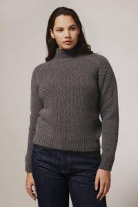 Rora Chunky Moss Stitch Lambswool Roll Neck Sweater Grey - British Made