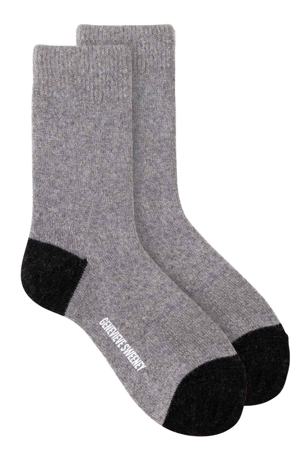 luxury grey merino cashmere sparkly lounge sock