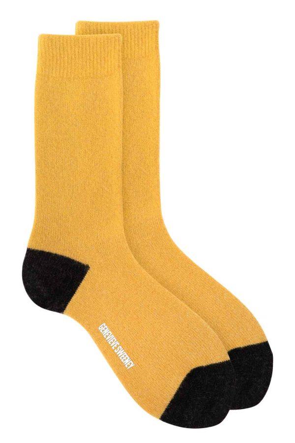 Women's luxury merino cashmere sparkly mustard lounge socks British made