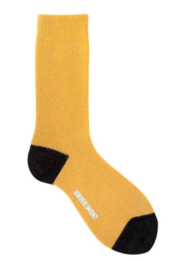 yellow merino cashmere sparkly lounge socks