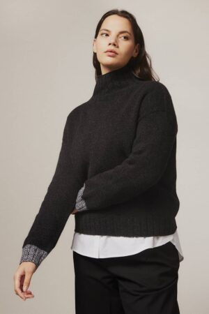 Thame Chunky Lambswool Turtleneck Sweater Black - British Made