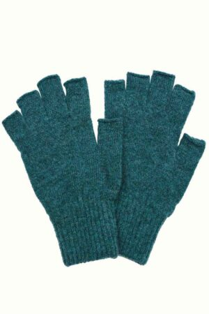 green lambswool unisex fingerless gloves