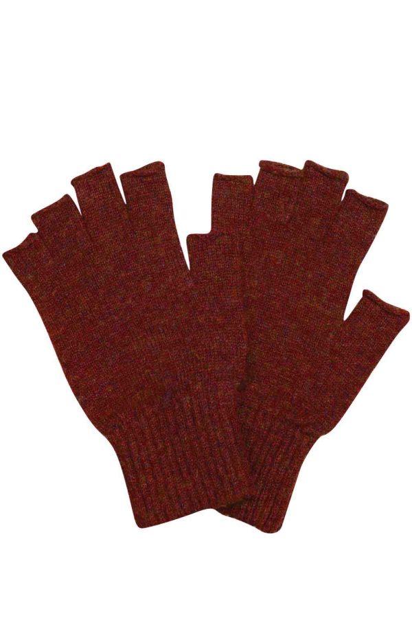 Luxury unisex fingerless lambswool gloves in Rust - British made