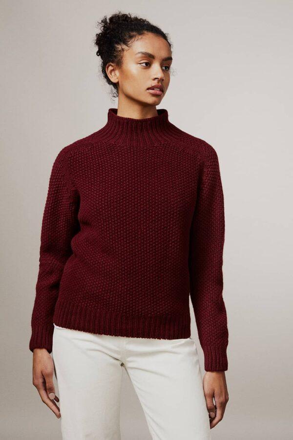 Rora Chunky Moss Stitch Lambswool Turtleneck Sweater Burgundy - British Made 3