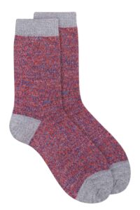 Unisex merino wool grey melange marl socks British made