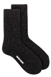 Women's luxury black glittery merino cashmere lounge socks British made