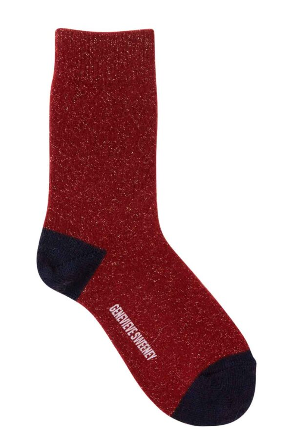 womens red merino cashmere sparkly lounge socks