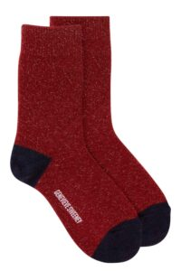 Women's luxury merino cashmere lounge socks in sparkly deep red - British made