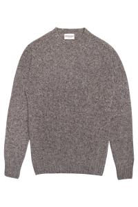 Luxury men's tweed 100% merino wool grey sweater made in Britain