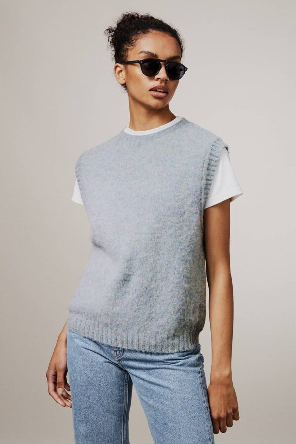 Laide Brushed Wool Knitted Vest Sky Blue - British Made