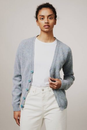 Leven Cardigan Brushed Wool Sky Blue - British Made