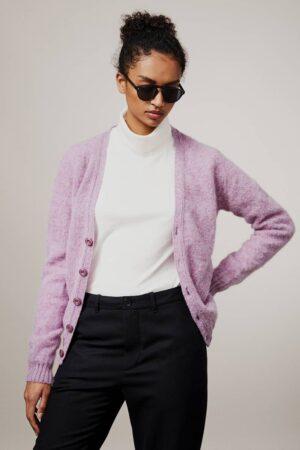Leven Cardigan Brushed Wool Heather Rose - British Made