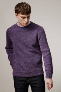 Luxury men's extrafine lambswool blue marl sweater made in Britain