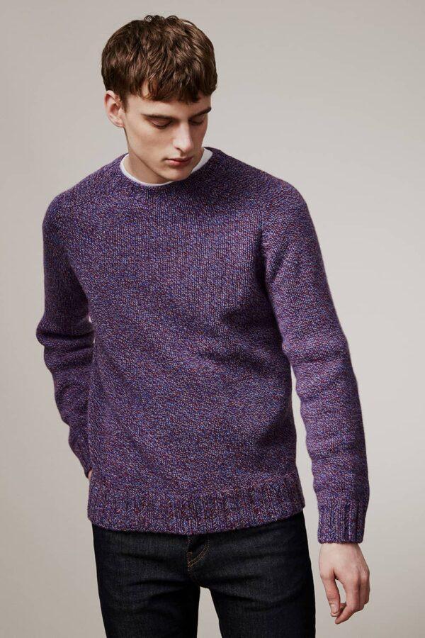 Liddel Chunky Lambswool Sweater Marl Blue - British Made 3