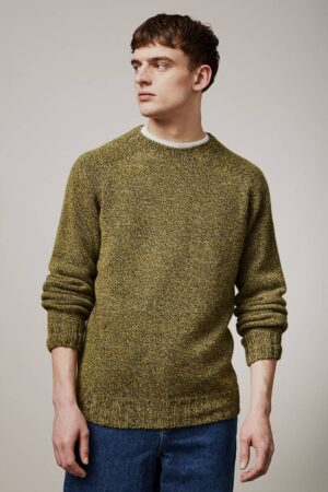 Luxury men's 100% lambswool mustard marl chunky sweater made in Britain