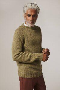 Liddel Chunky Lambswool Sweater Marl Mustard - British Made