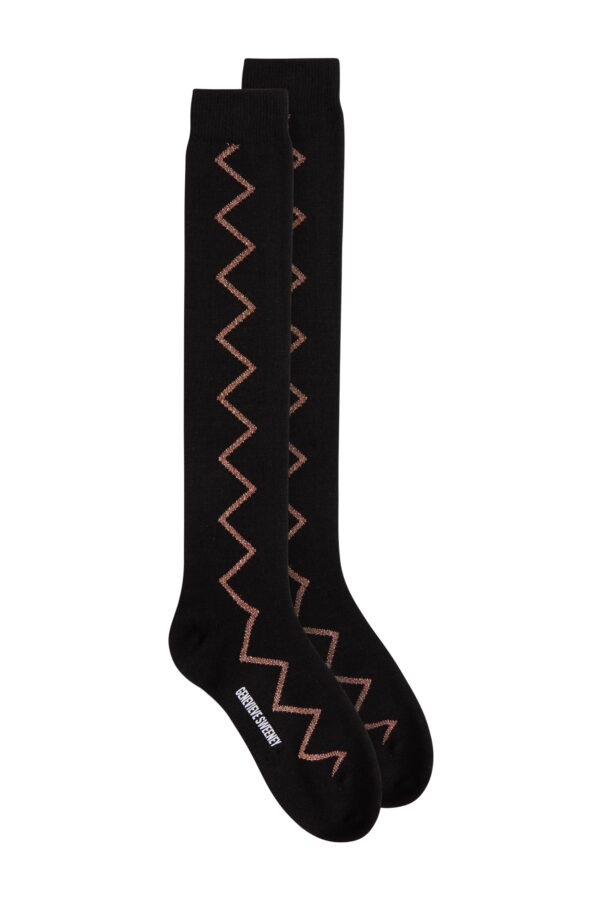 Womens knee high merino wool black socks with bronze sparkly zig zag - British made