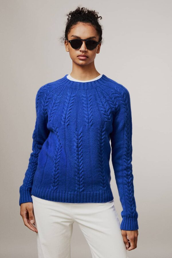 Wroxton Cable Lambswool Sweater Bright Blue - British Made 3
