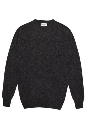 Luxury men's brushed 100% wool Charcoal sweater - British made