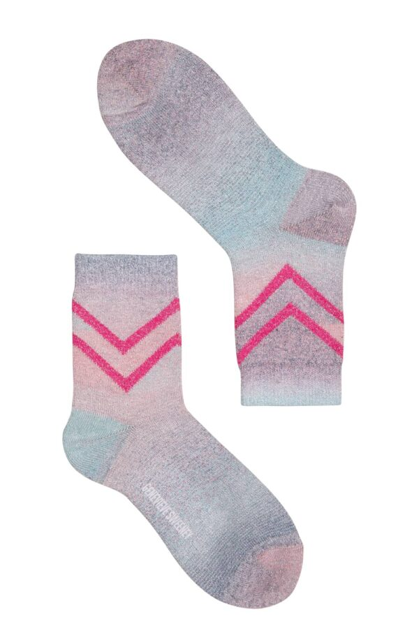 Luxury Women's Selina sparkly ombre pink, blue with Hot Pink Chevron design Socks - British Made