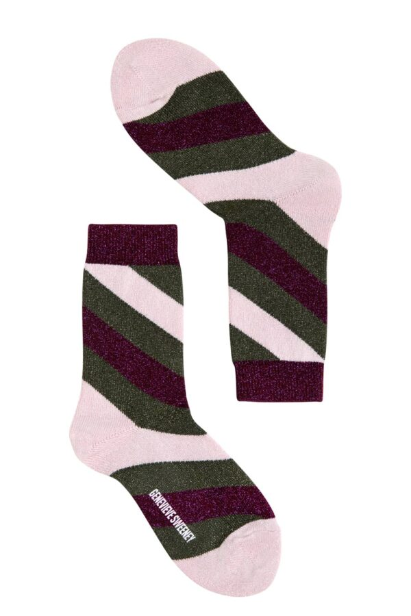 Women's luxury green and pink sparkly stripe socks - British made