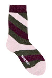 Women's luxury purple and green sparkly stripe socks - British made