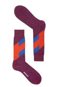 mens stripe merino wool orange blue marl socks british made