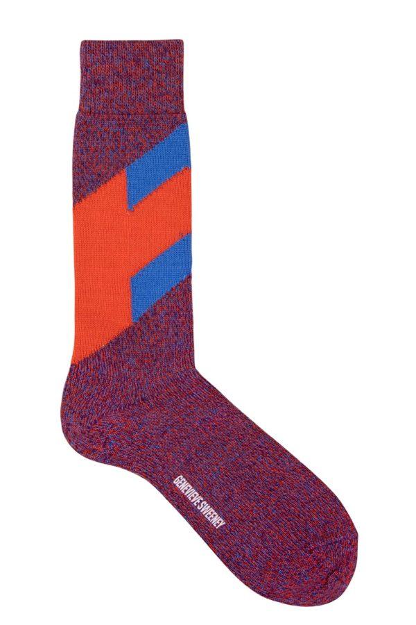 mens stripe merino wool orange blue marl socks