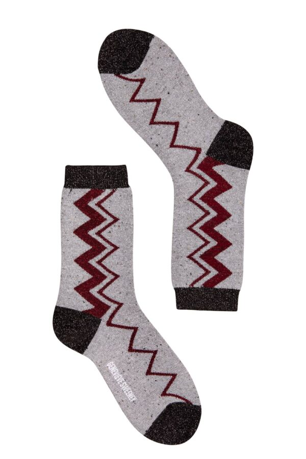 Luxe Women's Beige and Molten Pink Zig Zag Design Socks - British Made