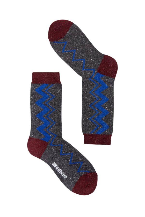 Sigi Sparkly Zig Zag Socks Black - British Made 2