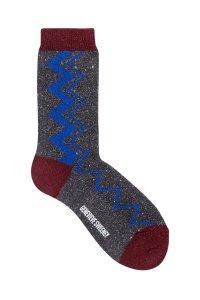Sigi Sparkly Zig Zag Socks Black - British Made