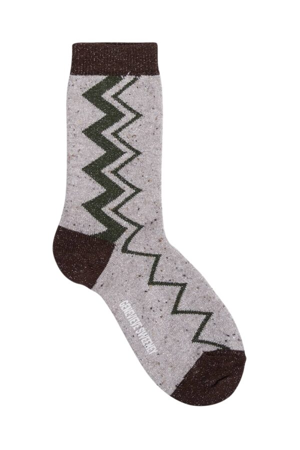 Sigi Sparkly Zig Zag Socks Natural - British Made