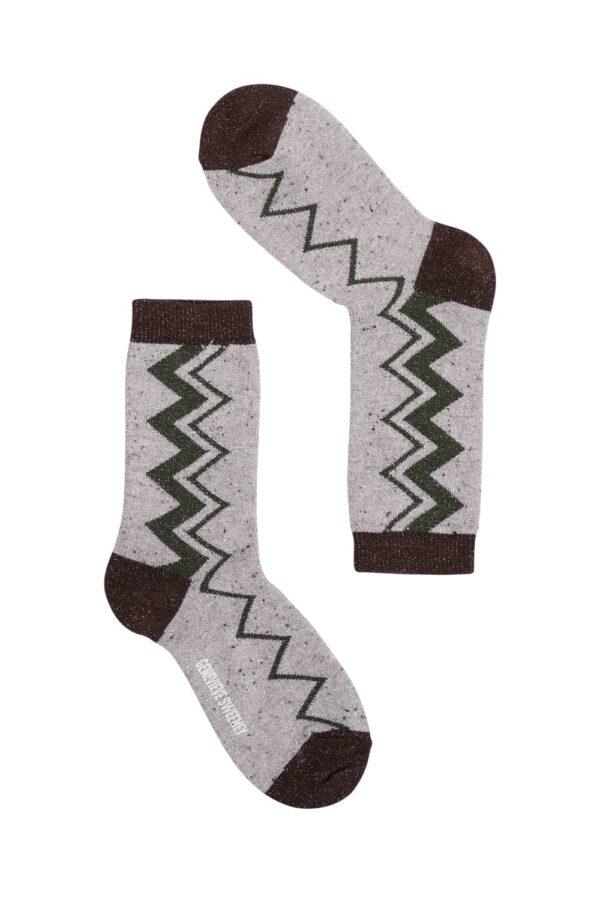 Sigi Sparkly Zig Zag Socks Natural - British Made 2