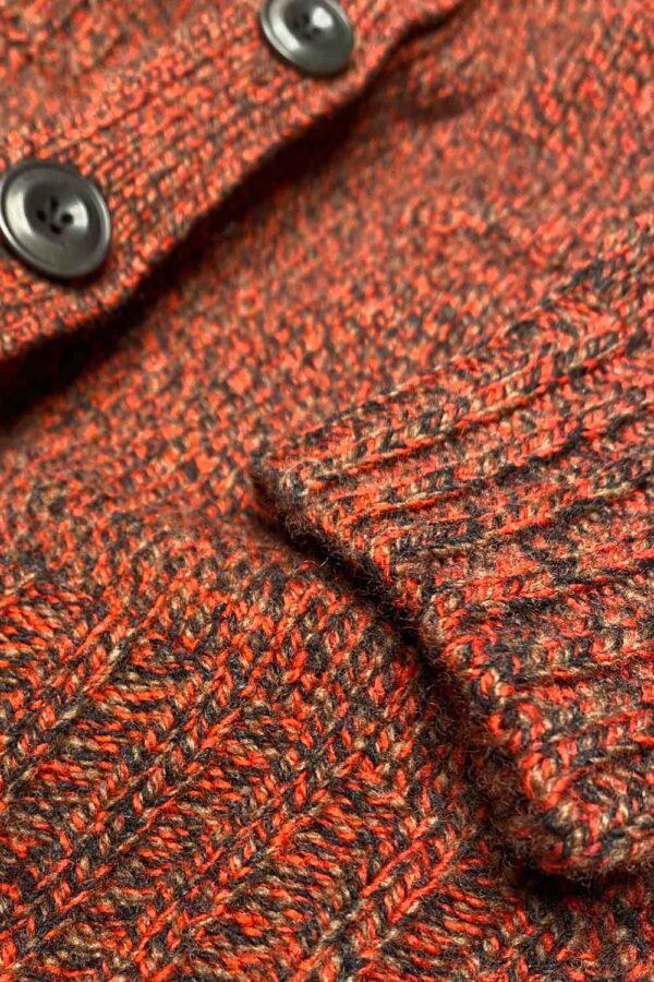 Luxury Boyfriend Fit Hazelnut Orange Lambswool Cardigan - British Made