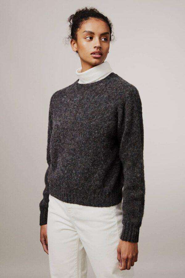 Leslie Brushed Wool Sweater Smoulder Charcoal - British Made